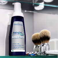 The AndroGel 1.62% pump inside a bathroom cabinet
